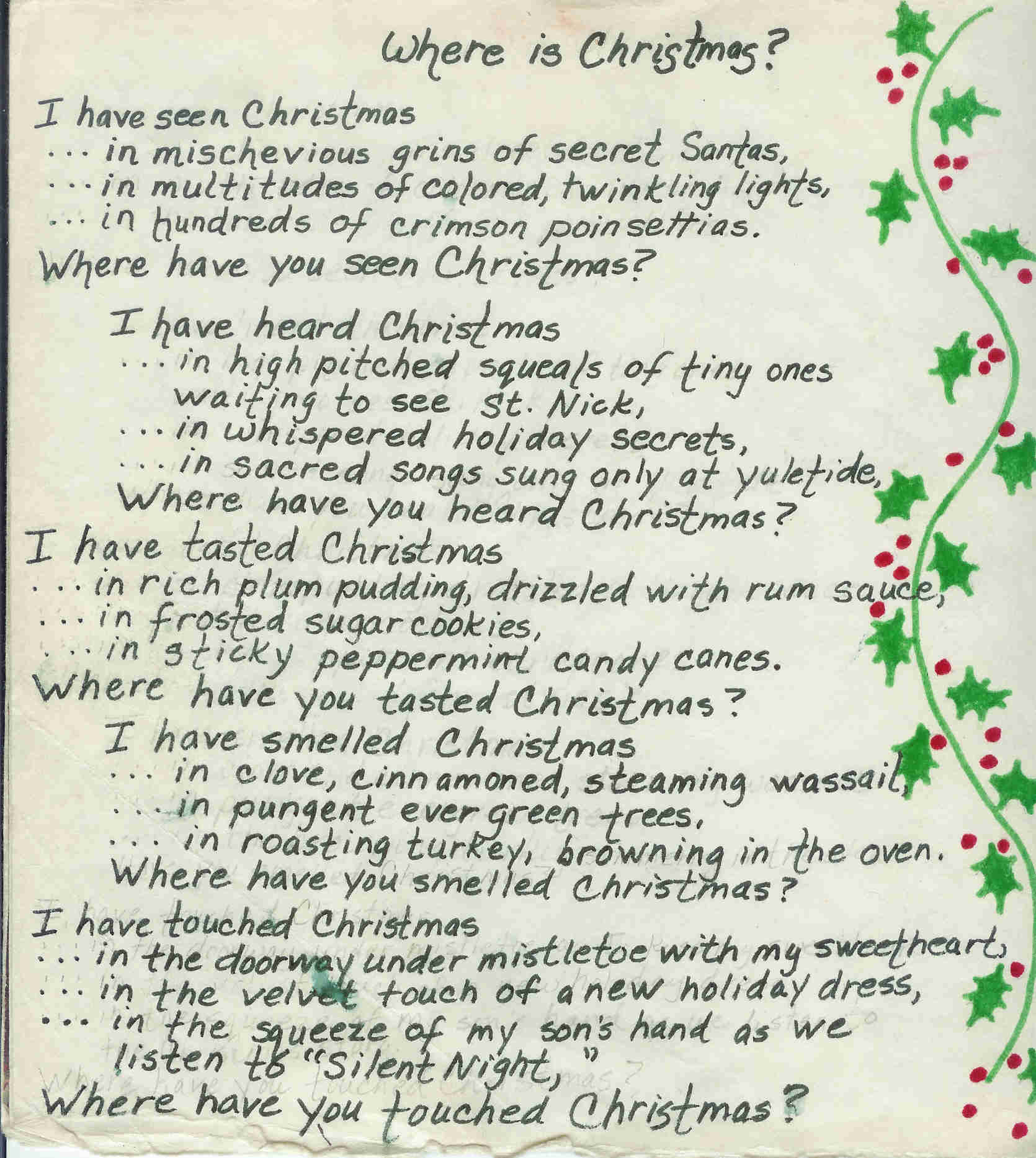 Christmas poems … just in time for New Years … | Writing My Life ...
