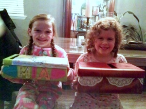 While the menfolk watched the Super Bowl, us little women worked on Valentine Boxes!