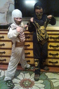 I think  Connor - ninja on the left - prefers October 31 over February 14!