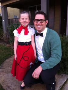 "Miss Abby and her ""50's-clad"" daddy date enjoyed a good ol' Valentine Sock Hop! Fun stuff!"