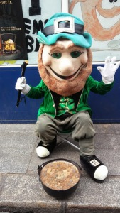 This creepy leprechaun is the only little green man we found and he tried to steal OUR gold!