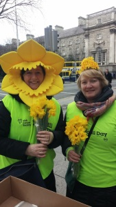 "Meet Jackie on the left and her friend who are all decked out for the Irish Cancer Society's ""Daffodil Day""on March 27th. They win the prize for ""Most Daffy-dil Spirit!! Adorable Irish ladies!!!"