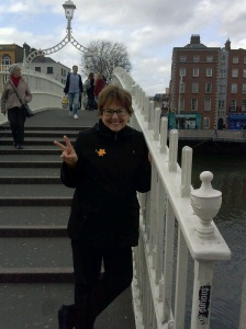 The Ha'penny Bridge is one of 3 foot bridges that cross the River Liffey, and built in 1816, it was the first iron bridge. It is a lovely bridge!
